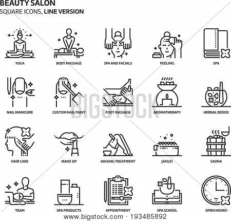 Beauty Salon, Square Icon Set
