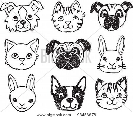 A vector set of dog cat and rabbit faces drawn in a scratchy style.