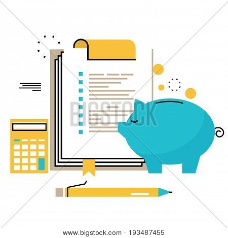 Financial consulting, finance guidance, business advisor, investment assistance, bookkeeping flat line vector illustration design for mobile and web graphics