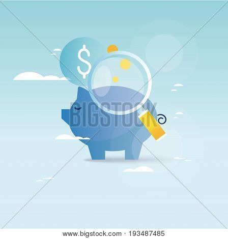 Piggy bank concept, financial investment, budget management, savings account, deposit, pension fund money, financial planning vector illustration design for mobile and web graphics