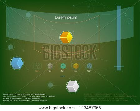 Background in techno style, lines, dots, CC, Blurred bright background. Frame for text transparent. For websites, infographics, interfaces.