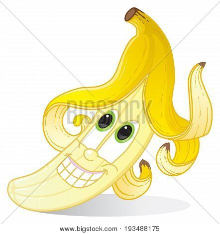 Yellow banana character with fun funky hairstyle for banana-flavored fruit candy or drink