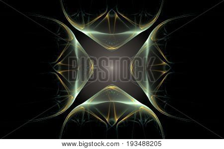 An abstract image of a glowing pattern in the form of four identical geometric figures converging towards the center on a black background