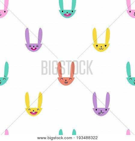 Colorful seamless pattern with cute Easter bunny faces with happy and lovely emotions, hand-drawn rabbits with various expressions, EPS 10