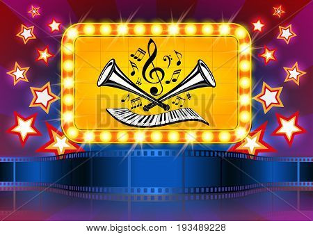 Vector illustration for the cinema and music: film tape; music notes clef piano keyboard and trumpets; screen with lamps and flares; stars on colorful background