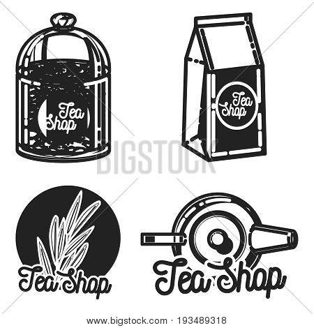 Color vintage tea shop emblems. Vector card design with tea. Tea house poster. Vector hand drawn set.