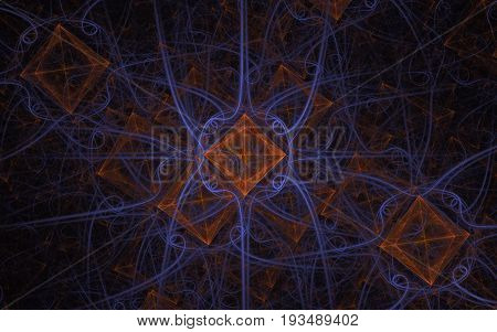Abstract image of an ornament from orange squares and lilac wavy lines scattered in a chaotic order on a dark background
