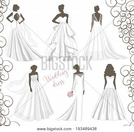 Wedding dresses in Different styles. Fashion bride Dress made in modern style.