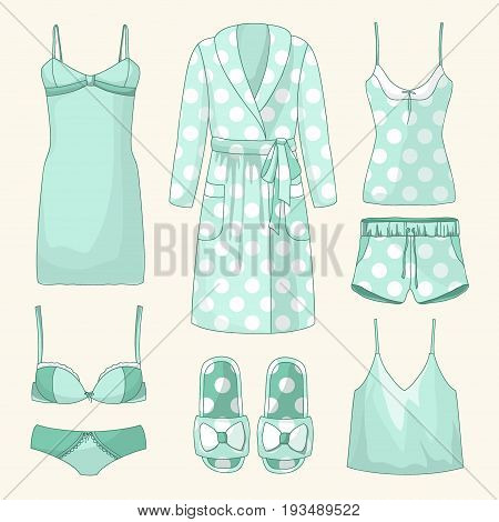 Set of womens homewear, sleepwear and underwear. Vector illustration, EPS 10