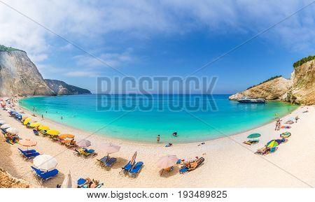 Porto Katsiki beach on the Ionian sea Lefkada island Greece.