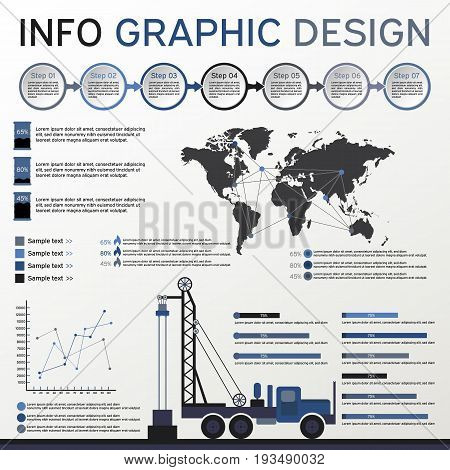 Oil and Gas Industry Elements. Info graphics Set. Vector