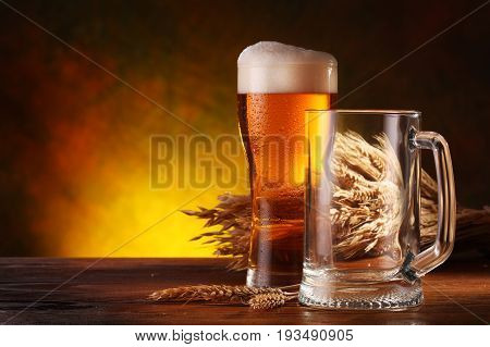 .Still Life with a draft beer by the glass