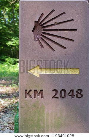 Milestone or signpost Santiago de Compostella, jakobs way jacobs way