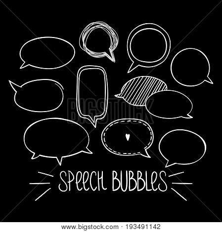 Set of hand-drawn oval speech bubbles, black and white vector abstract illustration of rounded speech bubbles, EPS 8