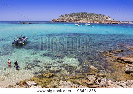 Cala Conta beach in San Antonio, in Ibiza Island, Spain