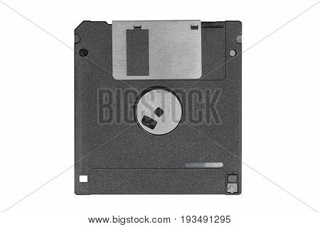 back top view of a black vintage floppy disk on white background