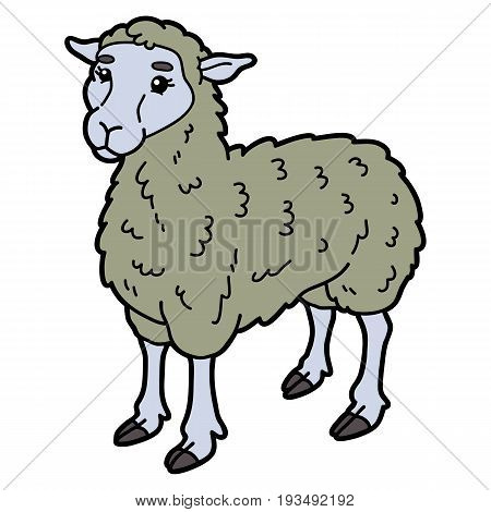 Vector illustration of cute cartoon sheep character for children and scrap book