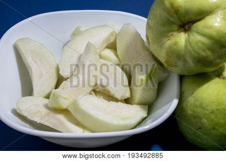 Close up Guava Fruits sliced in white bowl