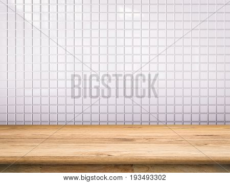 wooden counter with white mosaic tile background