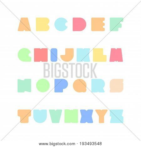 Bright colorful font. Funny english alphabet. Candy latin letters.