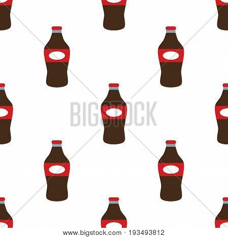 Soda, water and juice or tea bottles seamless pattern. Nature drinks in flat style on white background. Soda vector illustration