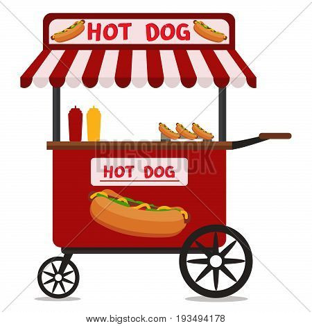 Street food vending cart with hot dogs vector illustration. Urban kiosk for sale hotdogs kiosk eat lunch service store dinner shop. Hot dog cart fast food snack mustard street market