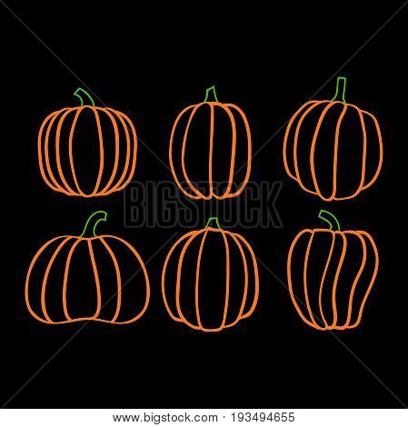 Autumn collection of linear pumpkins, halloween pumpkin set, vector pumpkin, EPS 8