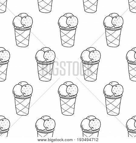Seamless doodle ice cream pattern, hand-drawn ice cream cup wallpaper, ice-cream vector background, EPS 8