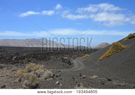 A view to the volcanic moonscape in Timanfaya National Park