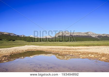 Campo Felice. Landscape of the central Apennines in Italy