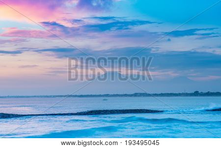 Ocean Sunset With Volcano