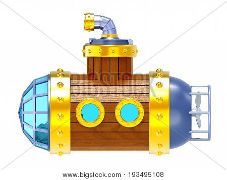 old steampunk vintage wooden submarine side view isolated on white. 3d illustration