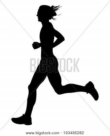 slender young woman athlete runner black silhouette
