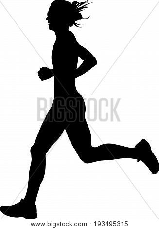 slender young woman athlete runner black silhouette