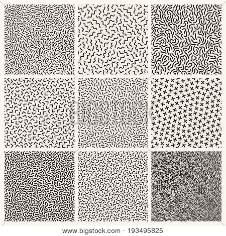 Collection of monochrome memphis seamless patterns.Fashion design 80-90s.