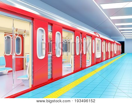 Subway Train Arrive On Station