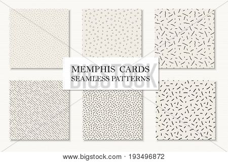 Collection of seamless hand drawn memphis patterns, cards. Mosaic textures. Trendy repetitive backgrounds. Retro design 80 - 90s.