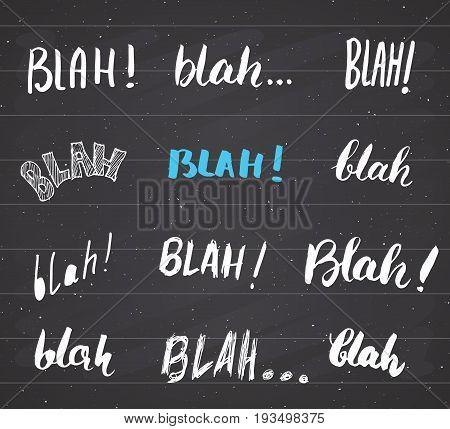 Blah blah words hand written set vector illustration on chalkboard background