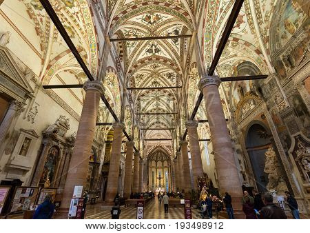 VERONA ITALY - MAY 1 2016 - Interior of Sant'Anastasia Church in Verona Italy. Sant'Anastasia is a church of the Dominican Order in Verona it was built in 1280 -1400