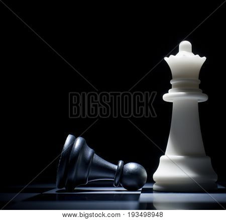 Black lost. Pawn at the feet of the Queen