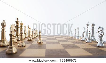 chess board and chess objects. Business strategic concept