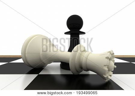 3d chess pawn and king business concept