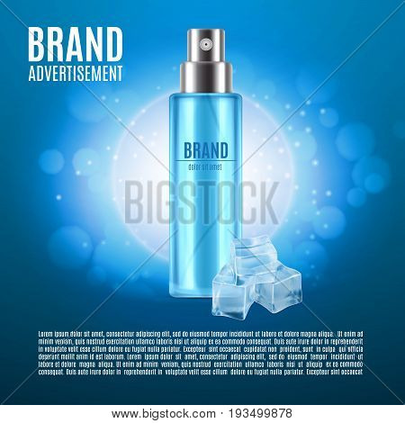 Ice toner ads. Realistic cosmetic spray bottle with ice cubes on a blue glitter background. Design for ads or magazine. 3d illustration. EPS10 vector