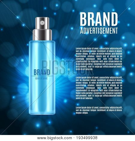 Ice toner ads. Realistic cosmetic spray bottle on a blue glitter background. Design for ads or magazine. 3d illustration. EPS10 vector