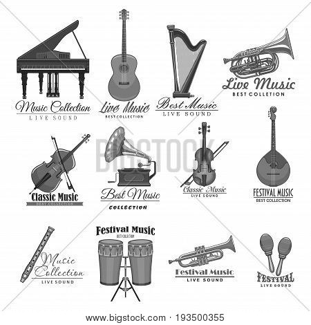 Music concert or live festival icons set of musical instruments. Vector labels of piano, guitar or harp and jazz saxophone or violin fiddle, folk music jembe drums and flute or maracas and gramophone