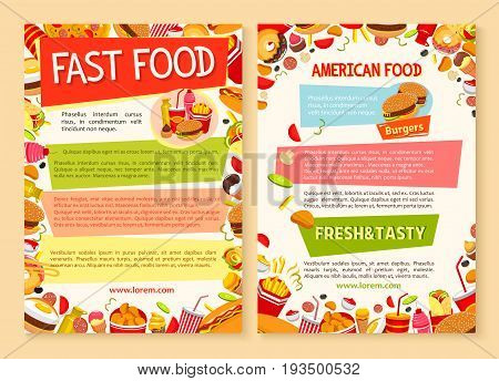 Fast food posters with combo sets of fastfood meals cheeseburgers, hamburgers or burgers and french fries. Vector design template of hot dog sandwich, donut cake or ice cream and coffee or soda drink