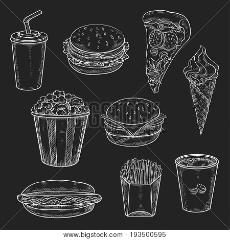 Fast food chalk sketch icons on chalkboard. Vector isolated soda, coffee drink or cheeseburger and hamburger with pizza slice and popcorn basket, french fries and ice cream dessert on blackboard