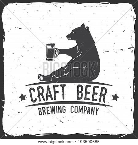 Craft Beer badge with bear. Vector illustration. Vintage design for bar, pub and restaurant business. Coaster for beer.