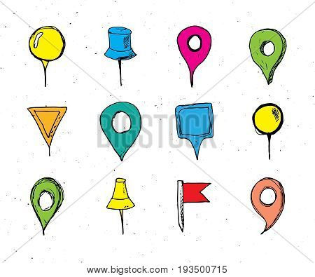 Map pointers hand drawn sketch set navigation pins doodle vector illstration isolated on white background.