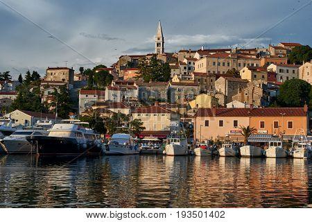 Beautiful View Of Vrsar Port And Vrsar Village With Landmark Of Church Tower At Sunset-Istria, Croatia